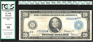 1914 $20  STAR FRN-FR#992*-8 known-Rare-ST. LOUIS-POP 1/8-PCGS 10
