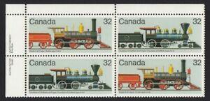 LOCOMOTIVE Canada 1984 #1037a UL PLATE Block of 4 MNH