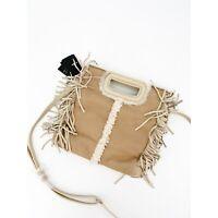 Maje Womens Sheepskin Crossbody M Bag Fringe Leather Strap Handle Purse $415 New
