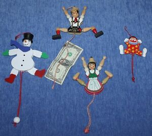 VINTAGE    Holiday   WOOD  PULL TOYS   Snowman   Clown   Jack & Jill