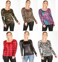 UK Womens Camouflage Tartan Leopard Print Long Sleeve Casual T-Shirt Top 8-26