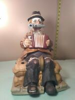 """Melody In Motion Porcelain Whistling """"One Man Band Clown"""" 11"""" tall # 2598 signed"""