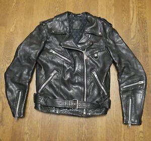 Vintage Hein Gericke Black Leather Motorcycle Jacket Small Unisex Zipper Brando