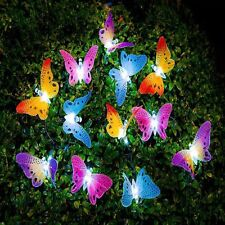 12 Led Solar Powered Butterfly Fiber Optic Fairy String Outdoor Garden Lights