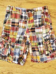 Gap Kids Madras Plaid Shorts Cargo Boys 14 Red Blue