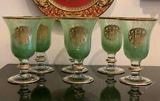 Arte Italica 6 Rare Encrusted Gold Pattern Green Swirl Water Goblet Glasses