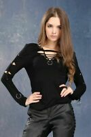 Dark In Love Punk Gothic Twisted Holes Distressed Long Sleeve Blouse Shirt TW037