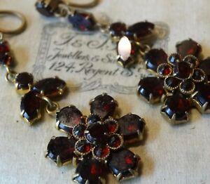 antique art deco Czech garnet red rhinestone gold tone screw clip earrings -E152