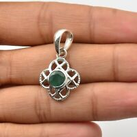Emerald Gemstone Indian Handmade Jewelry 925 Solid Sterling Silver Pendant