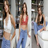 Hot Sexy Women Flower Crochet Lace  Bra Boho Beach Bikini Cami Tank Crop Top