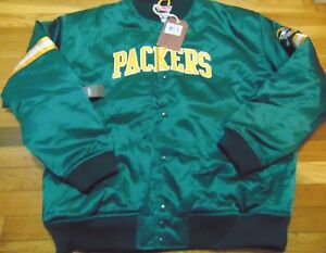MITCHELL NESS NFL THROWBACKS GREEN BAY PACKERS SATIN JACKET SIZE 2XL