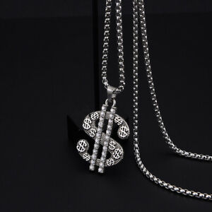 """Mens Womens Dollar Sign Money Pendant Necklace Lucky Jewelry Stainless Steel 24"""""""