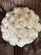 Wedding Flowers Brides  Large Ivory & Clear Bead & Gold Pearl Posy Bouquet