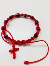 Pulsera Rojo y Negro bolas Onxy tejida estilo torsal hecha a mano