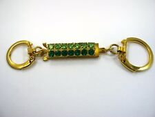 Collectible Keychain: Green Jewels Gold Tone Design