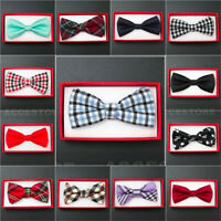 Boy's Straigt Cut Solid Pre-tied Bow tie Kid's Bowtie Wedding Party Formal
