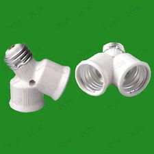 E27 to 2x E27, 2 into 1 Edison Screw Light Bulb Lamp Holder Adaptor Splitter, V2