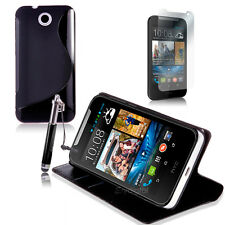 Black Wallet 4in1 Accessory Bundle Kit Case Cover For HTC Desire 310