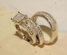 Man's And ladies 14K Gold Over Siver Wedding Band & Engagement Ring Trio Set