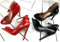 NEW  LADIES RED BLACK HIGH HEEL STILETTO PEEP TOE ANKLE STRAP SHOES SANDALS