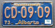 Alberta 1974 WILD ROSE COUNTRY SLOGAN License Plate # CD-09-09