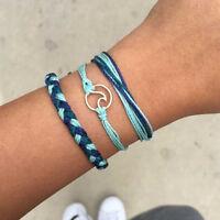 3pcs/set Mens Adjustable Multilayer Braided Rope Handmade Cuff Bracelet Jewelry