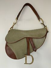 Vintage Christian Dior Saddle Bag Canvas Leather Handbag John Galliano Monogram