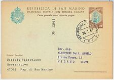 47753 - SAN MARINO  - Storia Postale: INTERO POSTALE  sassone # C36 1967