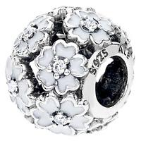 Genuine PANDORA Silver Primrose White Enamel Charm - 791488EN12