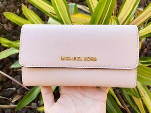 Michael Kors Jet Set Travel Large Trifold Wallet Signature MK Brown Black Pink