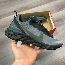 Nike reaccionar elemento 55 Khaki Negro Zapatillas Zapatos Talla UK7.5 US8.5 EUR42 CM26.5