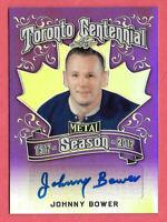 2016-17 Johnny Bower Leaf Metal Toronto Centennial Auto Purple 3/7 - Maple Leafs