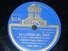 JAZZ 78 rpm RECORD Odeon ORQ LOS SOLISTAS REUNIDOS Bobito / La llegada del circo