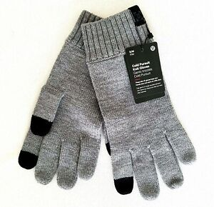 Lululemon Mens Size S/M Cold Pursuit Knit Gloves Merino Wool Med Gray $52 NWT
