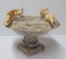 """Vintage 7� x 4.5"""" Marble Alabaster Pedestal Bird Bath, 4 Birds Figurine"""
