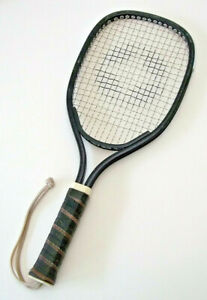 Vintage Spalding Racquetball Racquet Black Frame Leather Grip