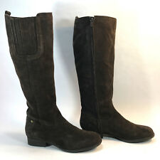 CROWN VINTAGE genuine brown suede side zip campus boots 6.5 FREE SHIPPING!