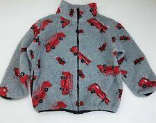 Boys PLAID MOOSE gray red fire truck sherpa fleece boutique jacket 7 fireman