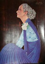 Jean DUNAND Portrait (Laque) Papier Gaufré 1934 Robe Haute Couture Art Déco