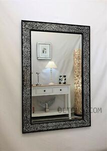Crackle Design Wall Mirror Chunky Black Frame Mosaic Glass 120x80cm New Handmade