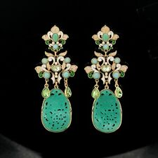 Boucles d`Oreilles Clips Pince Chandelier Doré Jade Vert Imi Bleu Gros Retro X11