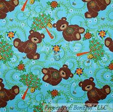 BonEful Fabric FQ Cotton Quilt Blue Bear Flower Country Bumble Bee Lg Tree House