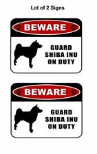 "2 count ""Beware Guard Shiba Inu (silhouette) on Duty"" Laminated Dog Sign"