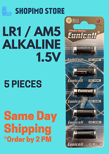 LR1 N size 1.5v MN9100 E90 AM5 Alkaline batteries by Eunicell battery x5
