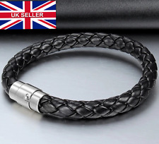 UK Mens Braided Woven Real Leather Bracelet for Guys Male Jewellery Bangle Cuffs