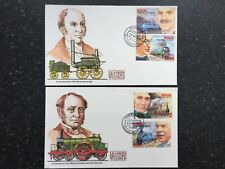 1986 BEQUIA FIRST DAY COVERS x2 - LEADERS OF THE WORLD - TRAINS - (SA72)