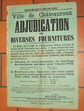 Affiche Adjudication Charbon de terre  CHATEAUROUX 1902 BERRY