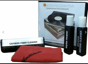 VINYL RECORD CLEANER KIT with STYLUS, DISC WASHER CLEANING CLOTH and SOLUTION