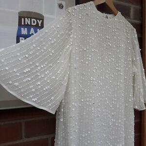 River Island White Sequin Wedding mini Dress Snow Queen Size 14 Kimono Sleeves