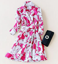Elegant Wrap Cotton Dress A-line Feminine Pink Cocktail Floral Size Small AUS 6